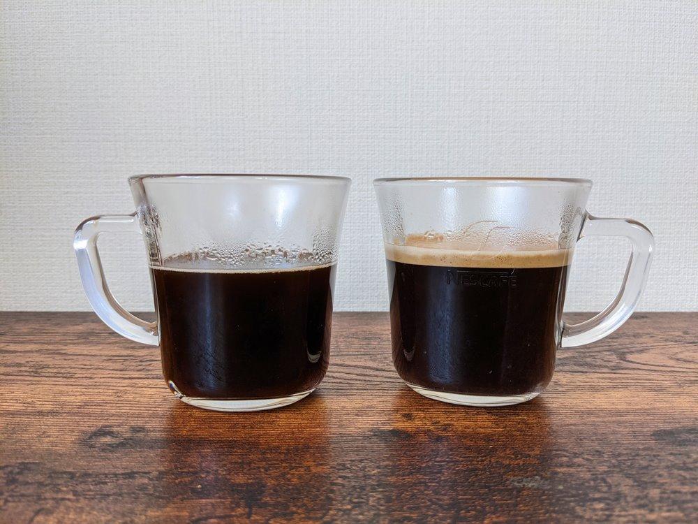お湯を注いで作ったコーヒーとネスカフェバリスタで作ったコーヒーの比較