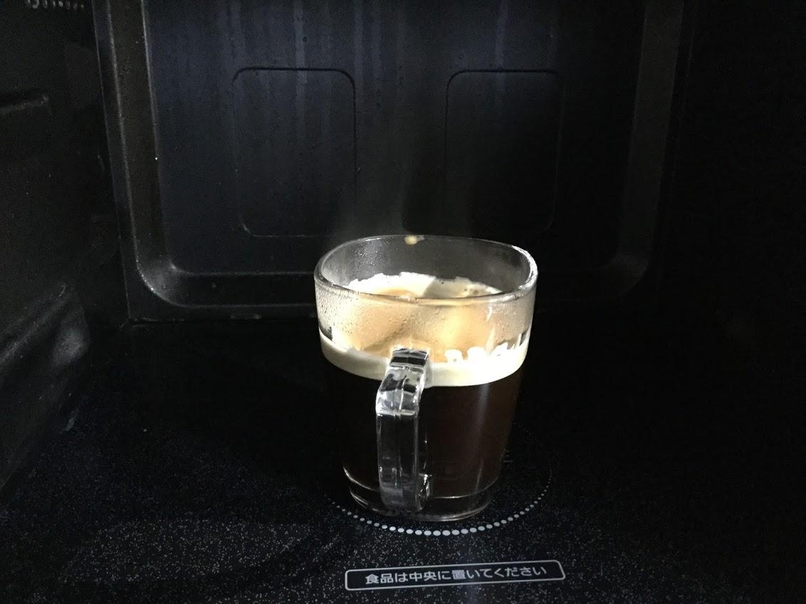 バリスタで淹れたコーヒーを電子レンジで温める
