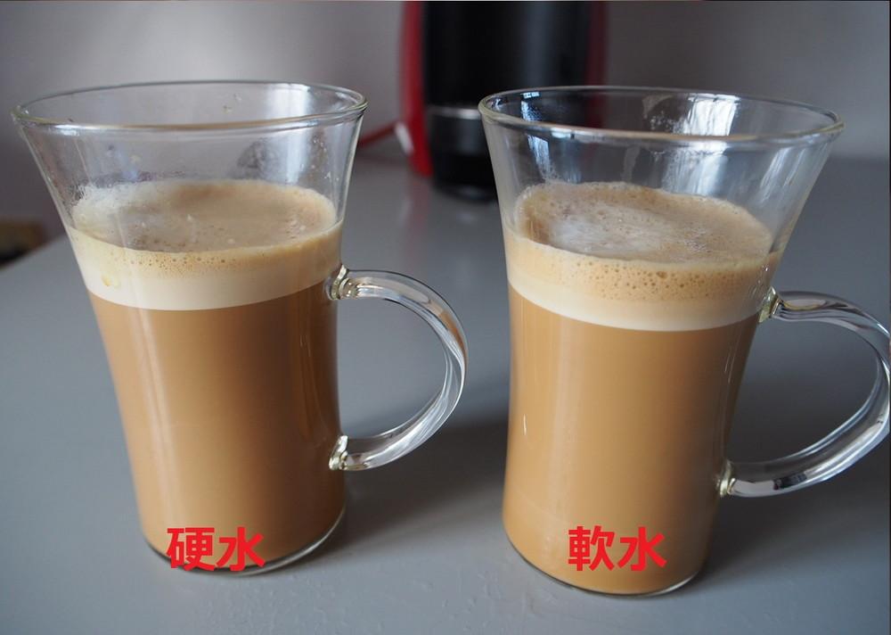 軟水と硬水のカフェラテ